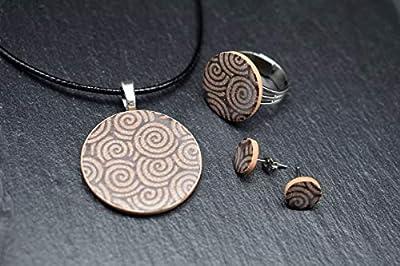 Bijoux-céramique-designer-ensemble femmes collier avec pendentif anneau boucles d'oreilles en essence marron beige fait main bijoux-femme-fantaisie