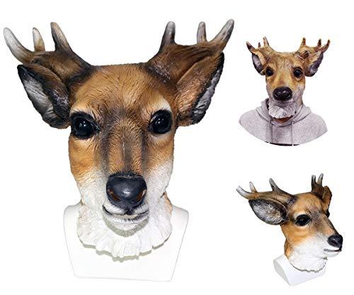 Rentier Stellen Kostüm - MASCARELLO Tier-Maske für den ganzen Kopf, Rentier, für Kostüme, Requisiten, Cosplay, Party, Erwachsenengröße