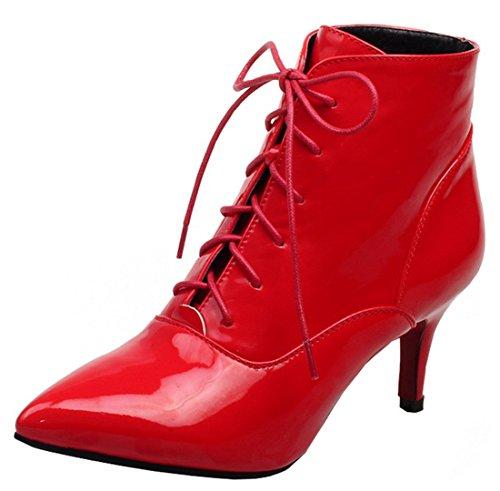 YE Damen High Heel Ankle Boots mit Schnürsenkel 7cm Absatz Stiletto Lack Stiefeletten zum Kleid Elegant Warm GefüttertSchuhe Rot