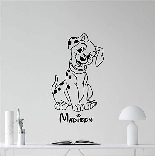 Qthxqa Benutzerdefinierte Name Hund Welpen Hause Schlafzimmer Vinyl Aufkleber Cartoons Film Schriftzug Junge Mädchen Wandkunst Dekor Wandaufkleber 58 * 35 Cm (Eine Halloween-welpe Film)