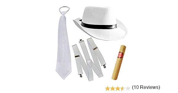 Gangsterhut Al Capone Colore Bianco Gangster Cappello Costume Carnevale