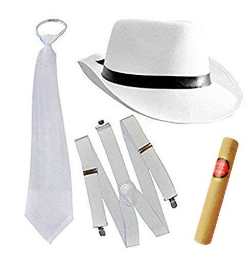 thematys Al Capone Mafia Gangster Hut + Krawatte + Hosenträger + Cohiba Zigarre - 20er Jahre Kostüm-Set für Damen & Herren - perfekt für Fasching & Karneval (Weiß)
