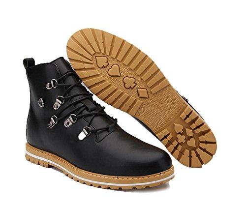 WZGDie neuen High-Top Schuhe, Outdoor-Freizeit Herrenstiefel Tooling Stiefel britischen Mode-Trend Nieten Mikrofaser Stiefel Männer schnüren Black