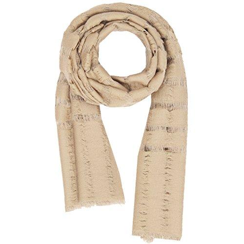 Lana seta autunno inverno dai un'occhiata strisce da donna uomo pashmina scialle sciarpa beige 1