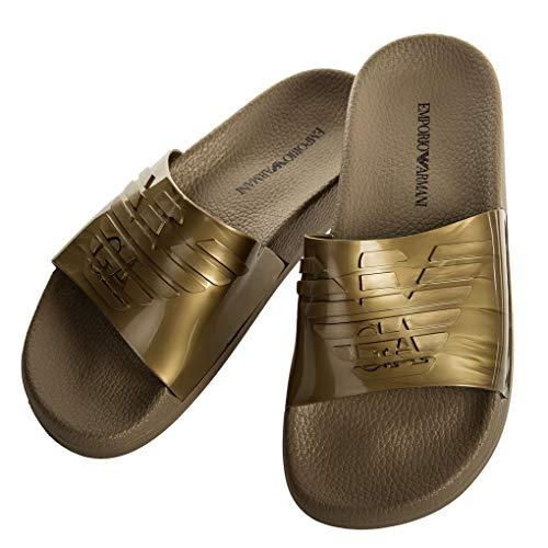 Emporio Armani Damen Badesandalen - Slipper, Badeschuhe, großes Logo, einfarbig (39 EU, Gold)