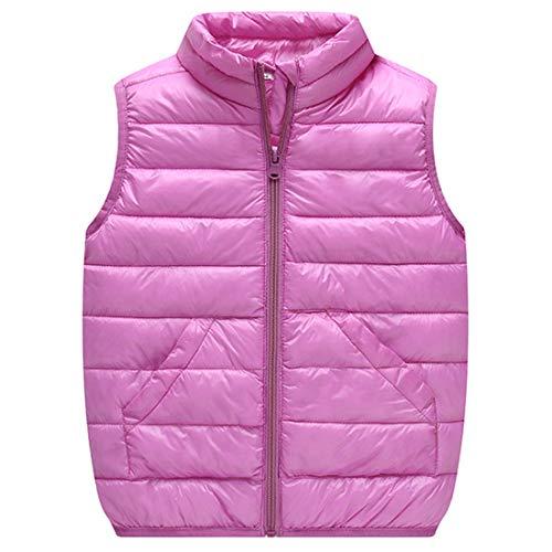 DGHFBD Heißer Baby mädchen Jungen Kinder Winter leichte Sleeveless Jacke Gilet weiche warme Puffer unten Weste Mantel hohe Hals Tasche Oberbekleidung