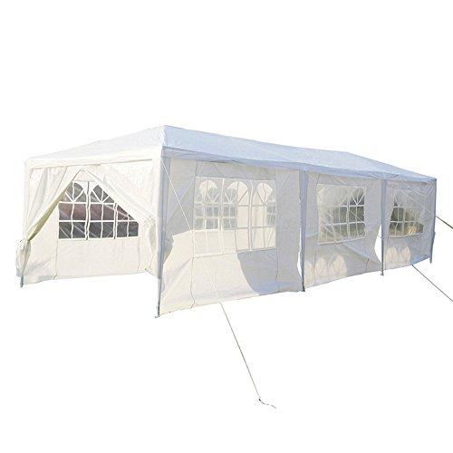 SAILUN 3 x 9 m Bianco Padiglione da Giardino Tenda da Giardino Padiglione Tenda birreria, telone Impermeabile PE, 8 pareti Laterali, 6 finestre, 2 Porte con Cerniera