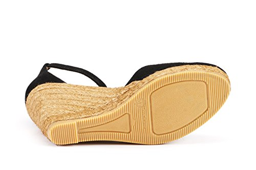 VISCATA Palamos Elegant Comfort, Soft Suede, Ankle-Strap, Closed Toe, Espadrilles with 3-inch Heel Made in Spain Black