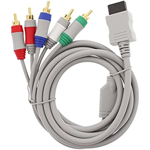 Fosmon Nintendo Wii / Wii U Reemplazo de componentes de salida de alta definición AV Cable Cable de HDTV / EDTV (480p de alta definición) para Nintendo Wii & Wii U - 1.8M