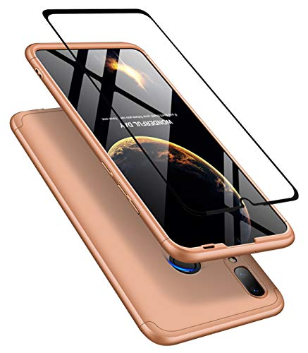 JOYTAG Kompatibel Huawei P30 Lite/Nova 4e Hülle 360 Ultra Gold + Hartglas Glasfilm Schutzfolie dünn Alles inklusive Schutz 3 in 1 PC Telefon Cover case-Gold