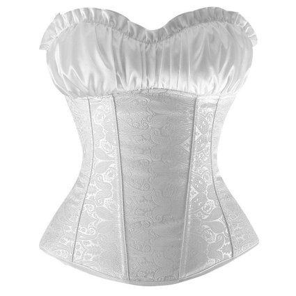 FeelinGirl Damen Korsagekleid Top Corsage Mini Rock XL Weiß (Mit Seitlich Reißverschluss Rock Mini)