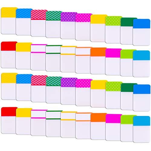 SIQUK 1200 Stück Haftmarker Film Index 25,4 x 40,6 mm Plastik Haftstreifen für Bücher und Dateiordner