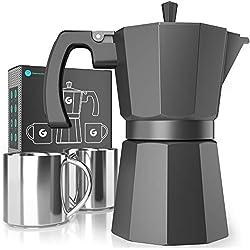 Coffee Gator Cafetière à Expresso Cafetière à Induction Rapide - Comprend 2 Tasses en Acier Inoxydable - Capacité de préparation de 350ml/6 Tasses