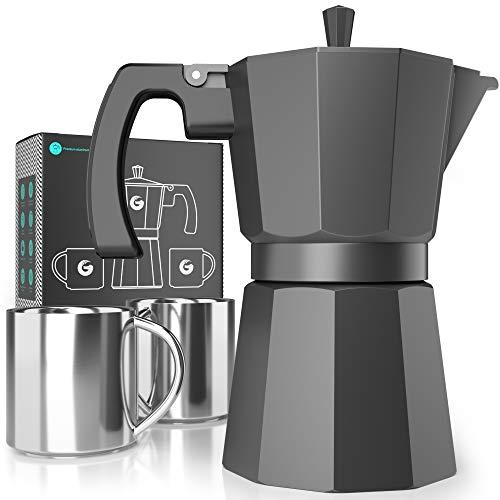 Coffee Gator-Espresso-Moka-Kanne - Induktionsfreundlicher, schneller Kochfeld-Kaffeekocher - 2 Edelstahlbecher inkl. - 350 ml / 6 Tassen Brühkapazität