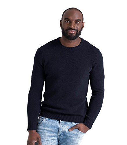 Wool Overs Pull col rond homme en laine d'agneau Navy