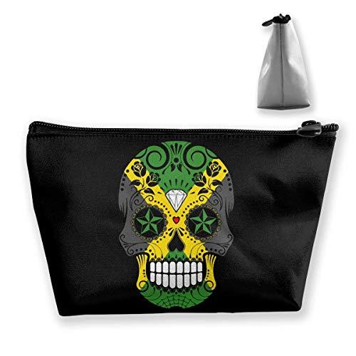 Organizzatore cosmetico portatile della borsa di trucco di viaggio del cranio dello zucchero della bandiera giamaicana