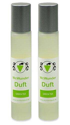 WcWunder Toilettenduft, Toilettenparfüm, Geruchsblocker 2x100ml Glasflakon Green Tea