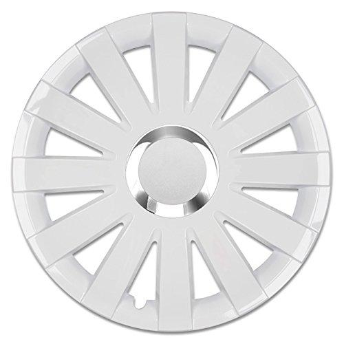 (Größe wählbar) 15 Zoll Radkappen / Radzierblenden ONYX Weiss passend für fast alle Fahrzeugtypen - universal