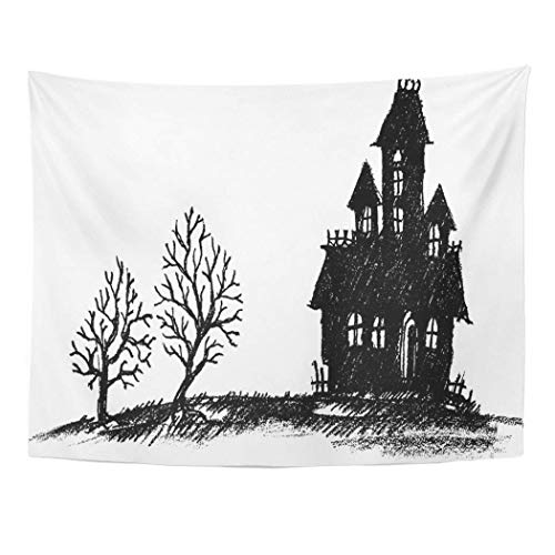 AOCCK Wandteppiche Tapestry Wall Hanging Drawn Halloween Haunted House Silhouette Hand Doodle Creepy Scary Drawing 60