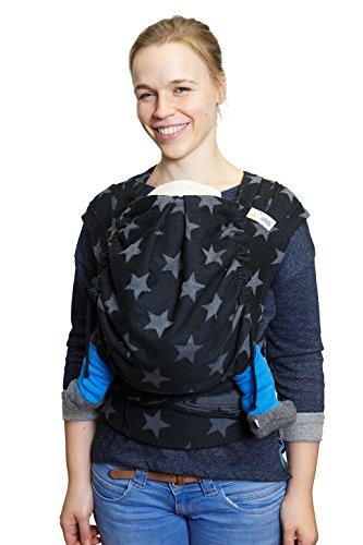 Madame Jordan Wrap Conversion Mei Tai 'City of Stars black' - Tragehilfe ab Geburt bis ca. 2 Jahre, Ergonomische Tragehilfe für Bauch, Rücken, Hüfte
