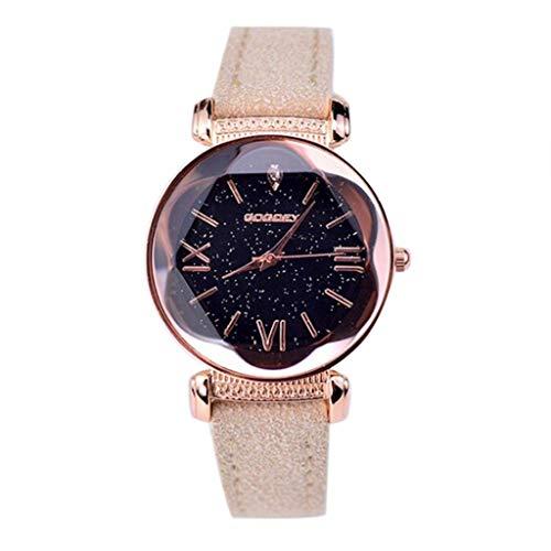 Armbanduhr Damen Ronamick Mode Herren Damen Classic Casual Quarz Leder Armbanduhr Armband Uhr Uhren (Khaki)
