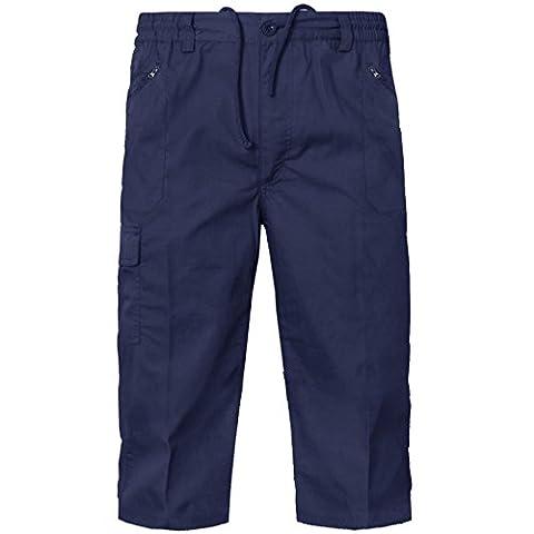 NEW MENS PLAIN 3/4 SHORTS CARGO COMBAT CASUAL SUMMER BEACH COTTON POCKETS PANTS[Navy,L]