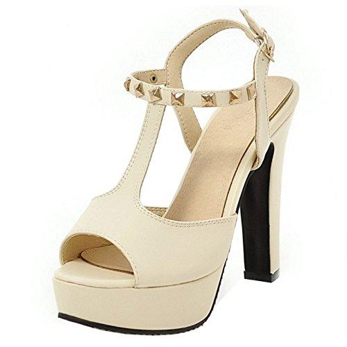 TAOFFEN Femmes Talons Hauts Sandales Mode Bloc Plateforme Peep Toe Chaussures Beige