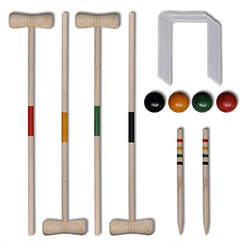 Preisvergleich Produktbild vidaXL Krocket Croquet Gartenspiel Holz Spiel für 4 Spieler Outdoor Krocketspiel Set