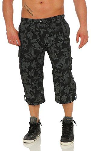 malito Bermuda Shorts mit Muster Cargo Shorts MK320 Herren schwarz (Zumba Männer Für Kostüm)