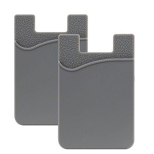 SHANSHUI 2 Piezas Tarjetero Adhesivo Bolsillo para Tarjetas, (Pegamento) para Todo Tipo de Móviles con Cinta Adhesiva de 3M,Cartera y Soporte para Auriculares con Función de portadocumentos(Gris) width=