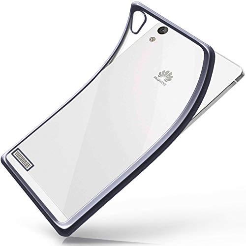 moex Huawei P6   Hülle Silikon Transparent Anthrazit Chrom Back-Cover Silikonhülle Dünn Schutzhülle Handyhülle für Huawei Ascend P6 Case Ultra-Slim Tasche TPU