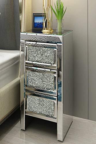 Generic Sparkle Nachtkommode Modern Home Furni Crushed Diamond 3 Crushed Modern Home Schublade M Schublade verspiegelt D Diam Möbel Sparkle