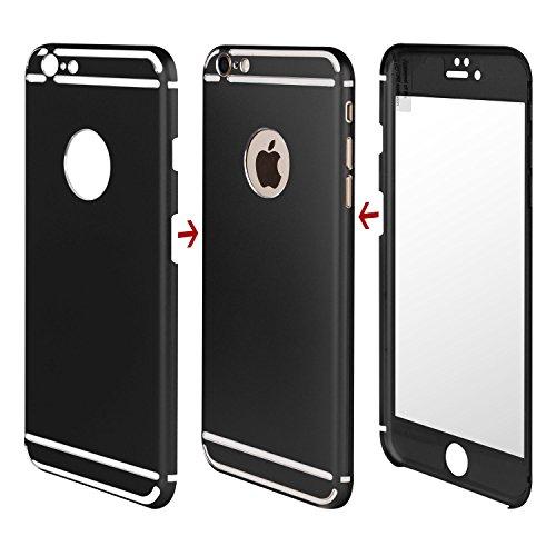 LAMINGO iPhone 6s, 6 Hülle Aluminium Case [360° Schutz inkl. Panzerglas] ultra slim Rundumschutz in gold Schwarz