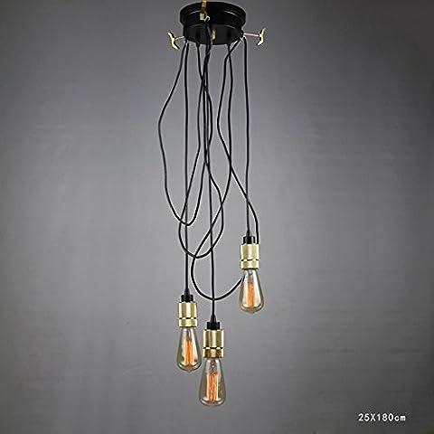 BJVB Línea industrial Vintage cadena luces techo lámpara redonda cubierta de elevación lámpara Lámpara Chandelier