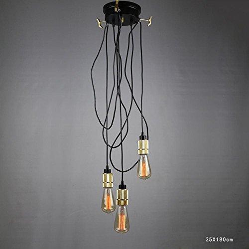 BJVB Linea industriale Vintage String luci soffitto lampada rotonda coprire sollevamento lampada lampadario in ferro