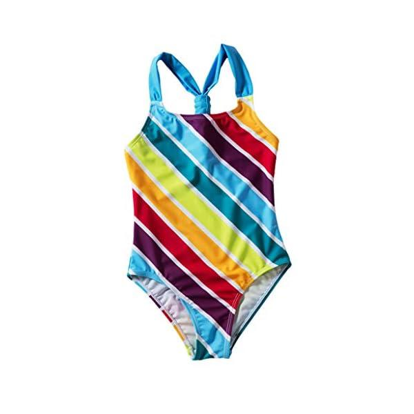 Heetey - Traje de baño para niña, Bikini para niña, diseño de Rayas Multicolor con triángulo y Hombros Anchos 2