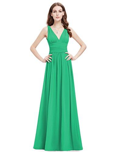 Ever Pretty V-Col Longue Mousseline Robe de soir¨¦e 09016 Vert Emeraude