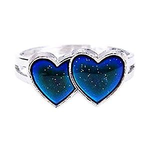 EVRYLON Ring mit Farbwechsel Magische Umore Mood Ring Symbol Herzen verstellbar Wunderschönes Geschenk für Damen Mädchen