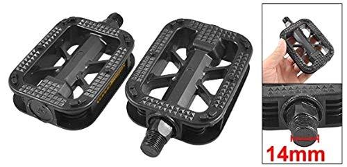 ZXYAN Pedales de Plataforma de plástico Negro de Rosca 2pcs 14mm MTB Bicicleta de Carretera
