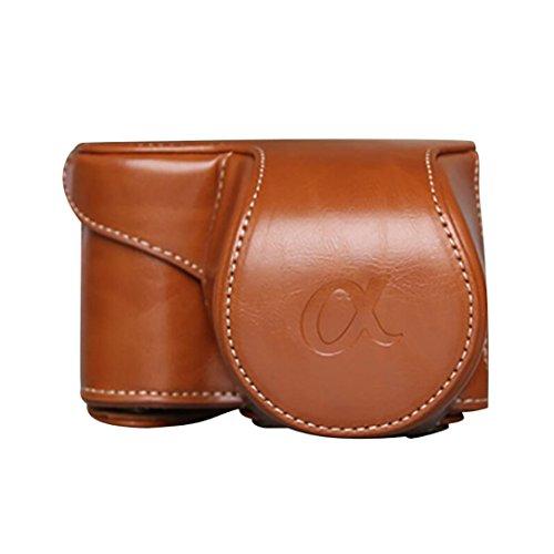 ZARU Leder Kameratasche, Tasche Tasche für Sony A6000 A6300 NEX6 (Braun)