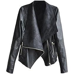 HARRYSTORE Chaqueta de la chaqueta de la cremallera del cuero de la motocicleta del motorista del motorista de la manera de 1PC (M, Negro)
