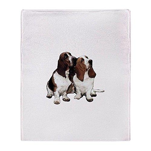 CafePress-Basset Hounds-weicher Fleece Überwurf Decke, 127x 152,4cm Stadion Decke, weiß, 50x60 Basset-hound-fleece