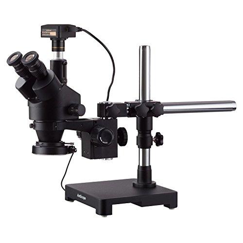 AmScope 3,5 x 90 X Triinokular-Stereo-Zoom-Mikroskop auf einem Arm Galgenstativ + 144 LED Kompakte Ringleuchte mit 18 MP USB 3.0 Kamera