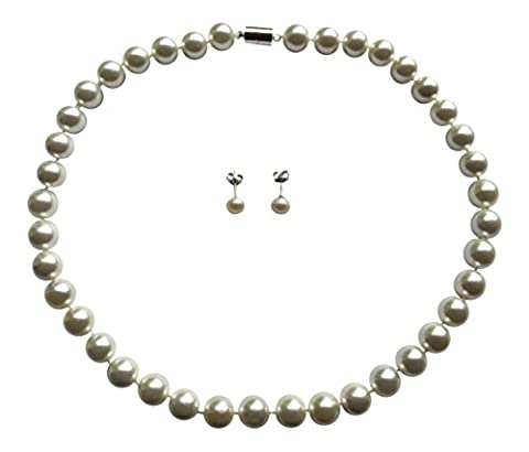 AAA 10mm White South Sea Shell Pearl Necklace + Free Pearl Stud Earrings