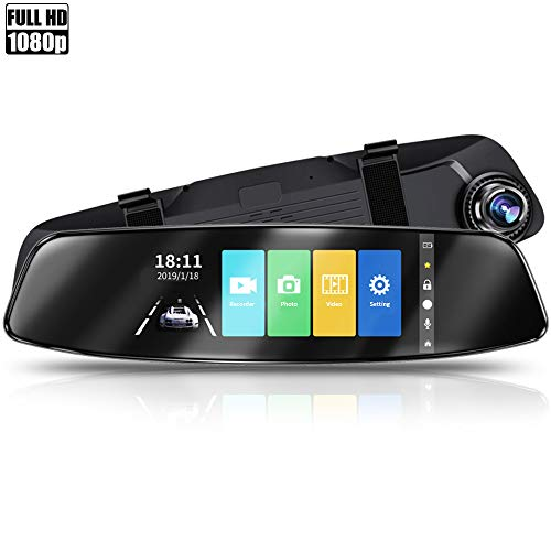 Dash Cam, Dual Dashcam Recorder mit Touchscreen Front- und Rückfahrkamera HD Kamera, G-Sensor, Rückfahrmonitor, Loop-Aufnahme mit 16 GB Micro-SD-Karte