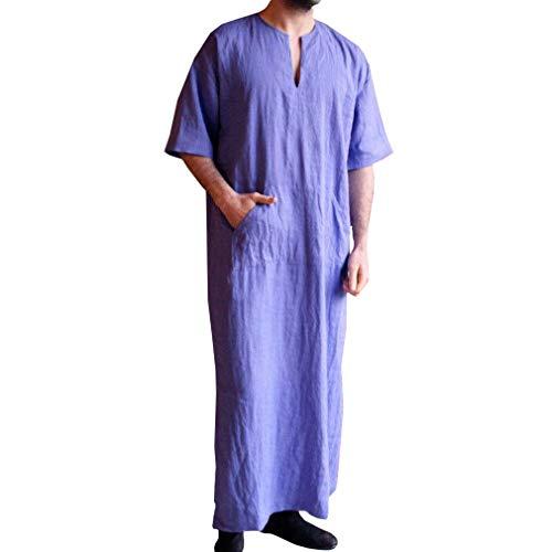 (hongxin Herren Ethnische Kaftan Dubai Arabisches Retro Kleidung mit Tasche Unifarben Langarm Leinen Obergewand)
