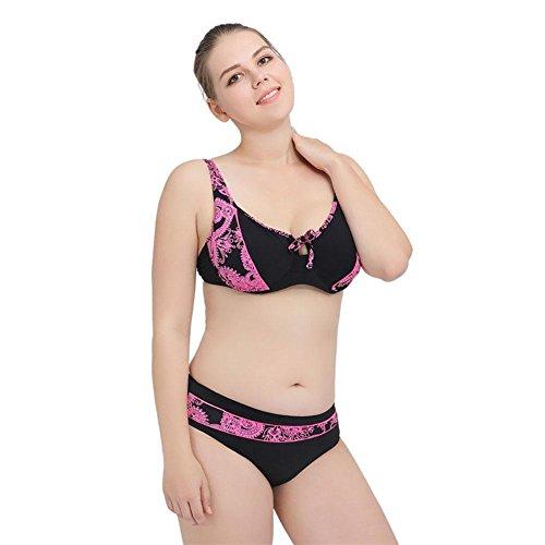 SHISHANG Frau Größe Bikini Europa und den Vereinigten Staaten und Kanada die Stärke der festen Farbe Badebekleidung hohe Elastizität zu erhöhen black powder