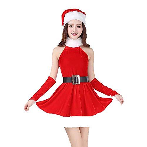 2018 New Santa Anzug Erwachsene Cosplay Sexy Frauen Rot Einteiligen Rock Kostüm Outfits Für Weihnachten/Karneval Halloween Kostüme,Red,OneSize (Billig Sexy Santa Kostüm)