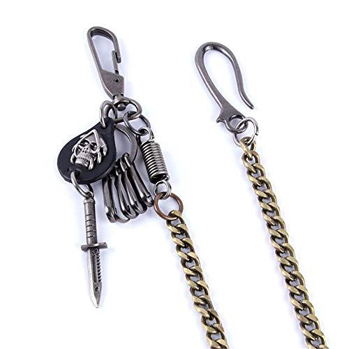 Y-WEIFENG Männer Mode Punk Hip-Hop Hosen Hosen Schlüsselanhänger Rock Nicht-Mainstream-Taille Geldbörse Kette Gürtel ` (Farbe : Schwarz)