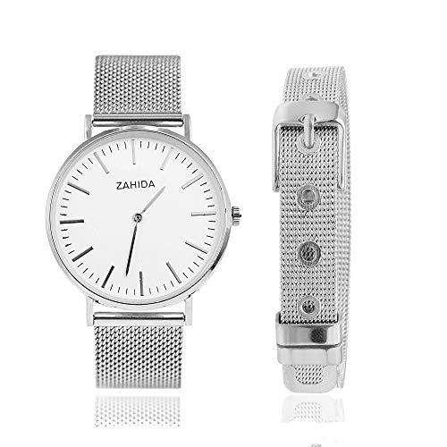 LUXERY Charm-Band Damen Armband mit Uhr, 2er Set Starter-Angebot Edelstahl für Individuelle Anhänger Mesh Charms Edelstahl Frauen Silber Rose-Gold Silber-Silber Uhr